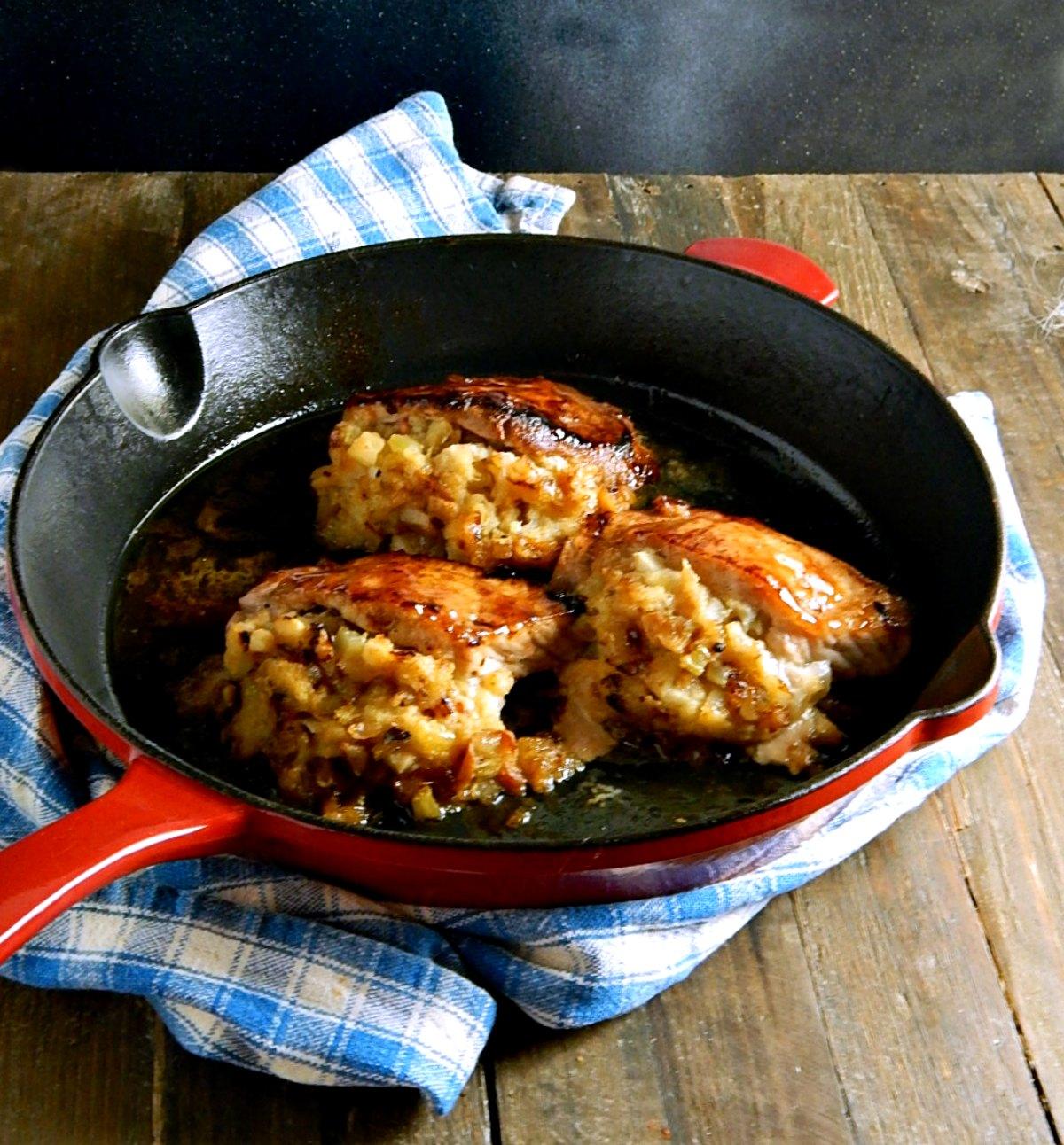 Apple Glazed Stuffed Pork Chops