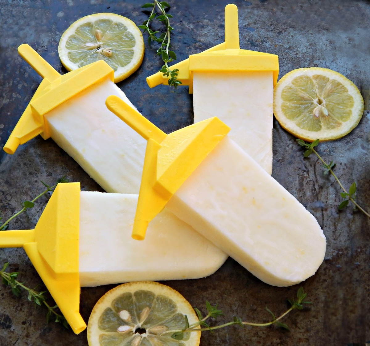 Lemon Buttermilk Popsicles, with optional Thyme
