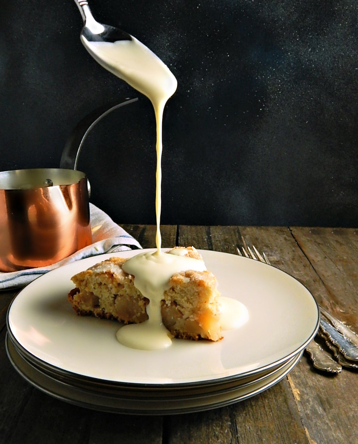 Irish Apple Pie Cake with Custard Sauce - Creme Anglaise