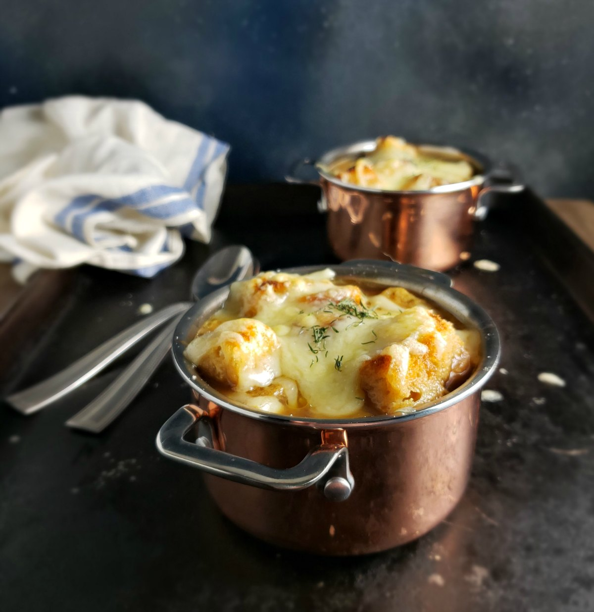 Guinness Onion Soup with White Cheddar Croutons