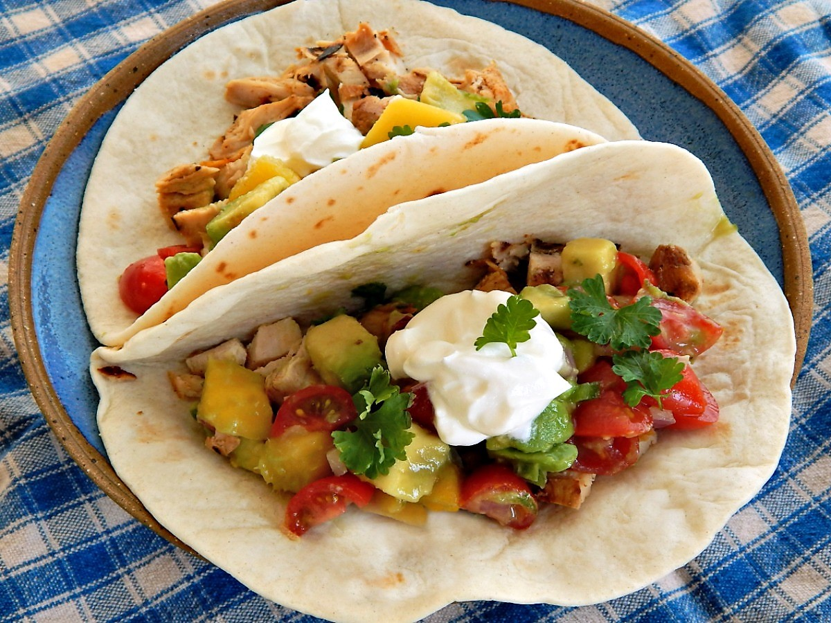Grilled Chicken Tacos with Avocado, Mango & Tomato Salsa