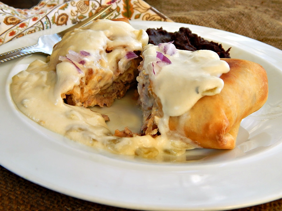 Steak Chimichanga with Green Chili Verde Sauce