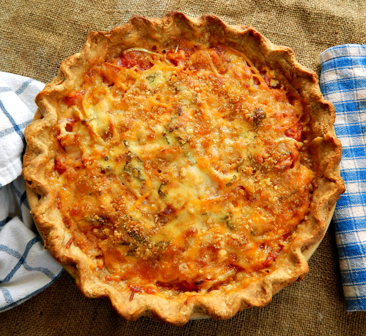 Cheesy Vidalia & Tomato Pie, adapted from Emeril Lagasse