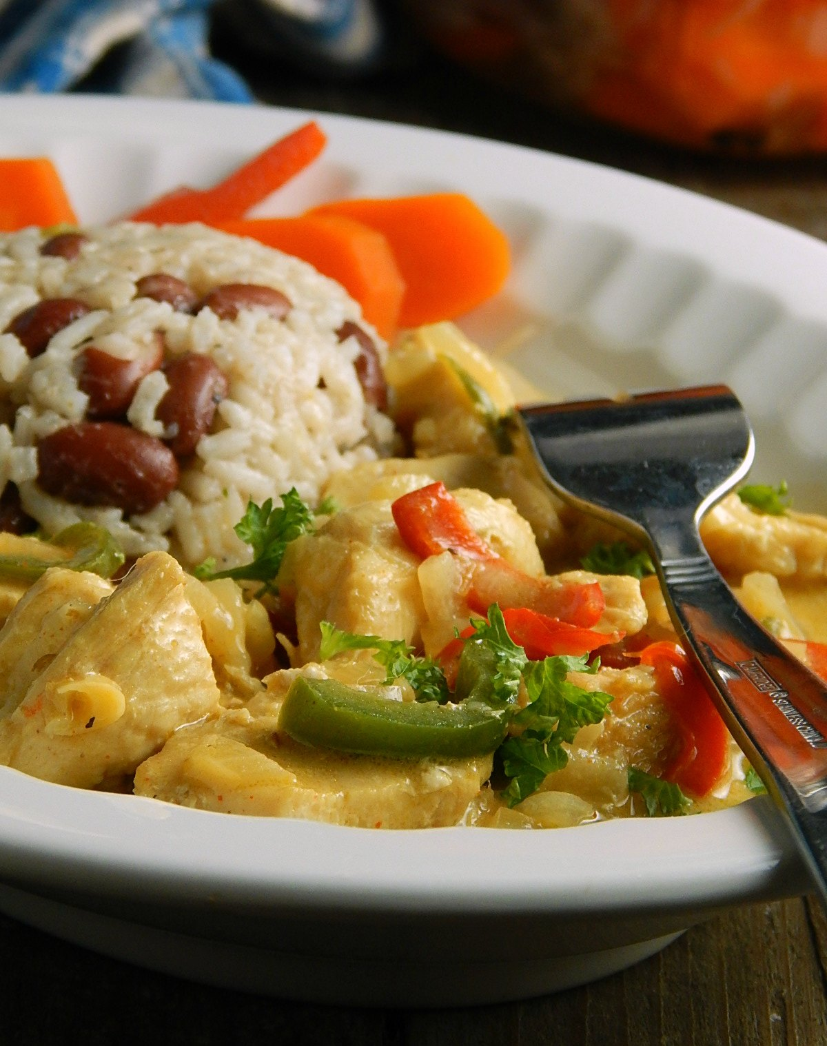 Pollo en Leche de Coco - Guatemalan Chicken in Coconut Milk with Rice & Beans