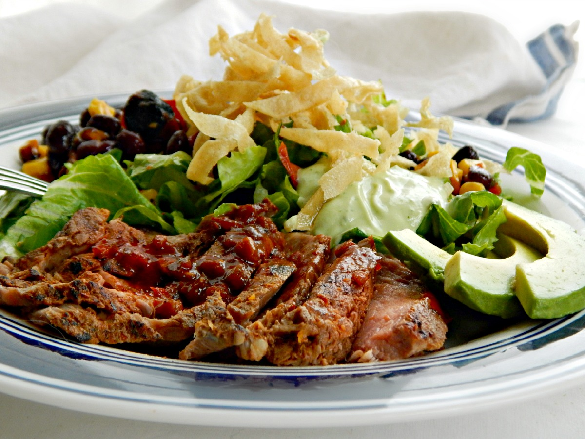 Southwestern Steak Salad with Avocado Cilantro Lime Dressing & Roasted Corn & Black Bean Salsa