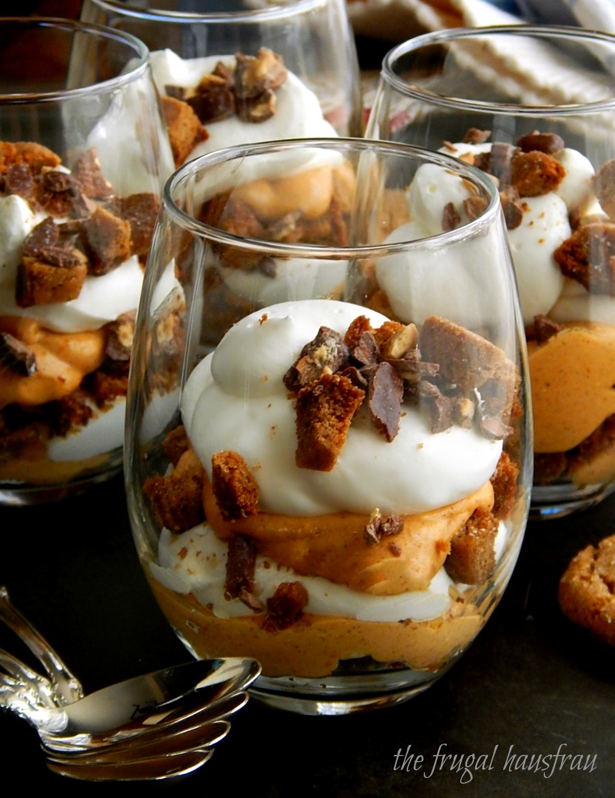 Make Ahead Pumpkin Trifles. Layers of pumpkin mousse,whipped cream, crushed gingersnaps & chocolate covered almonds.