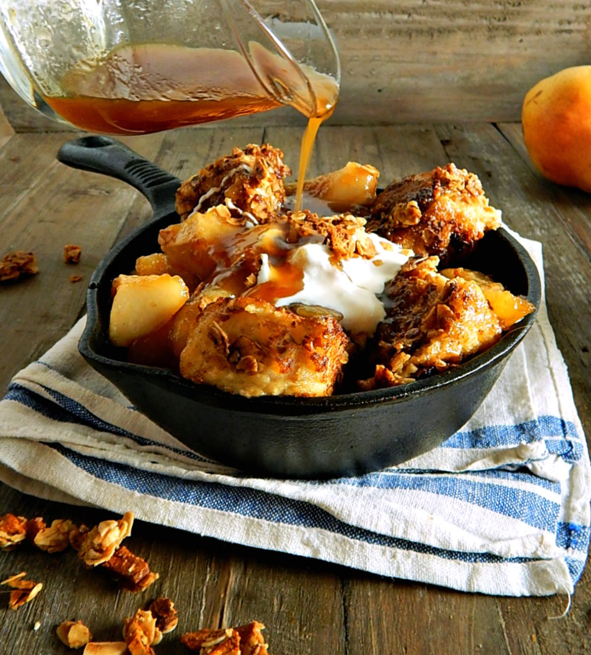 Pear Almond Granola French Toast with Pear Brown Sugar Caramel Syrup