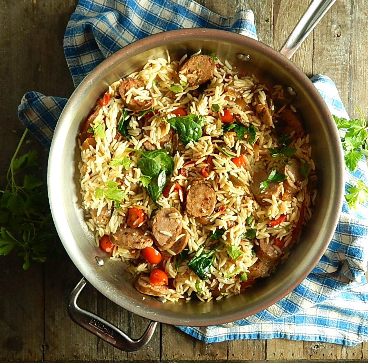 Orzo with Sausage & Peppers