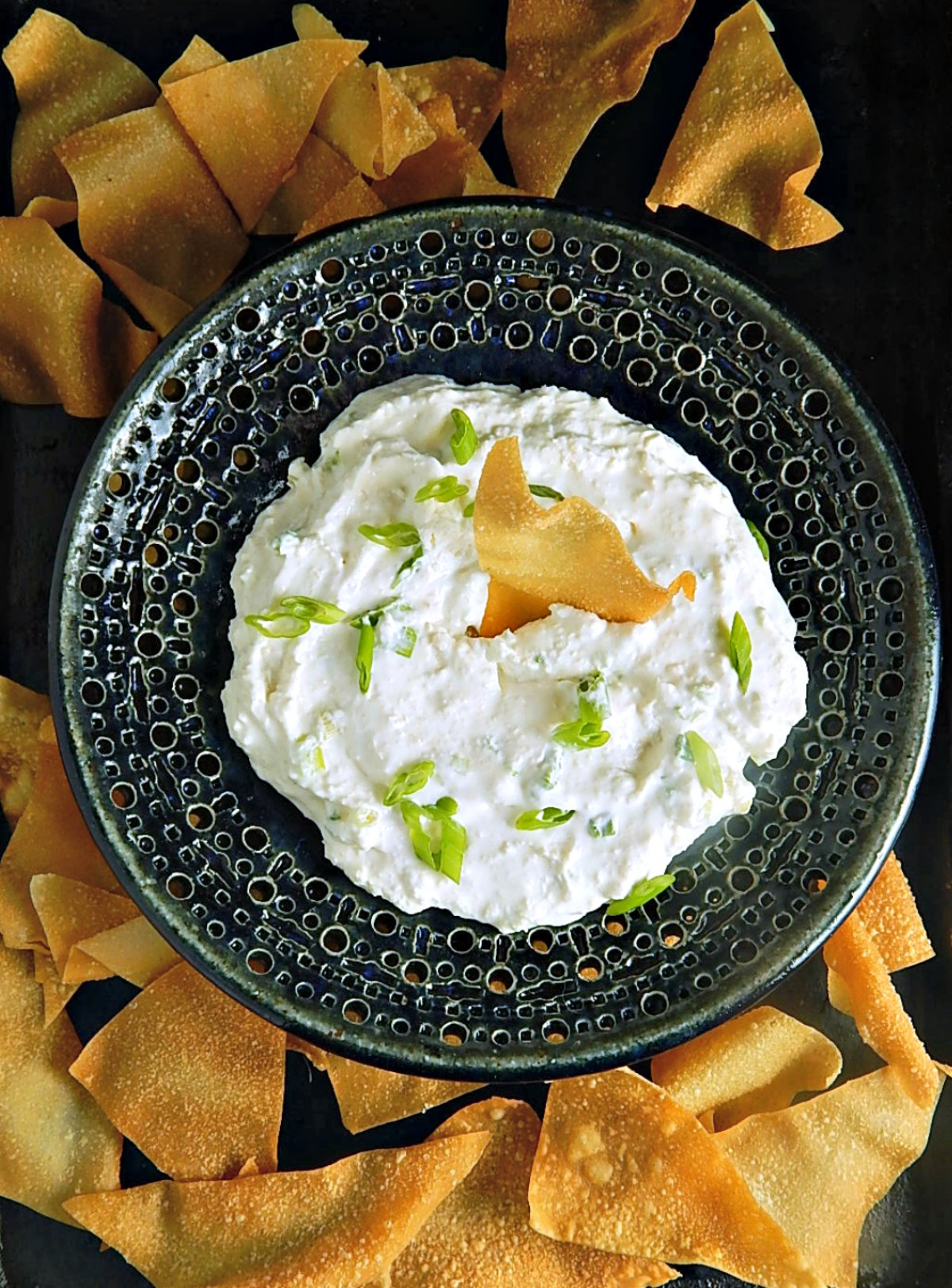 Creamy Crab Rangoon Dip with Wonton Chips Baked or Fried