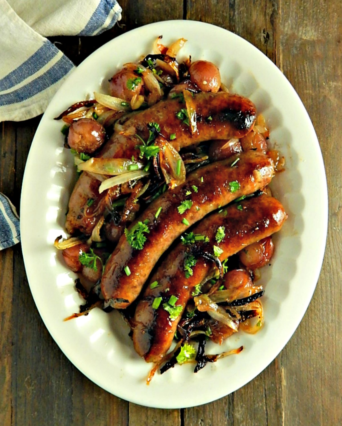 Sheet Tray Sausages with Onions & Grapes